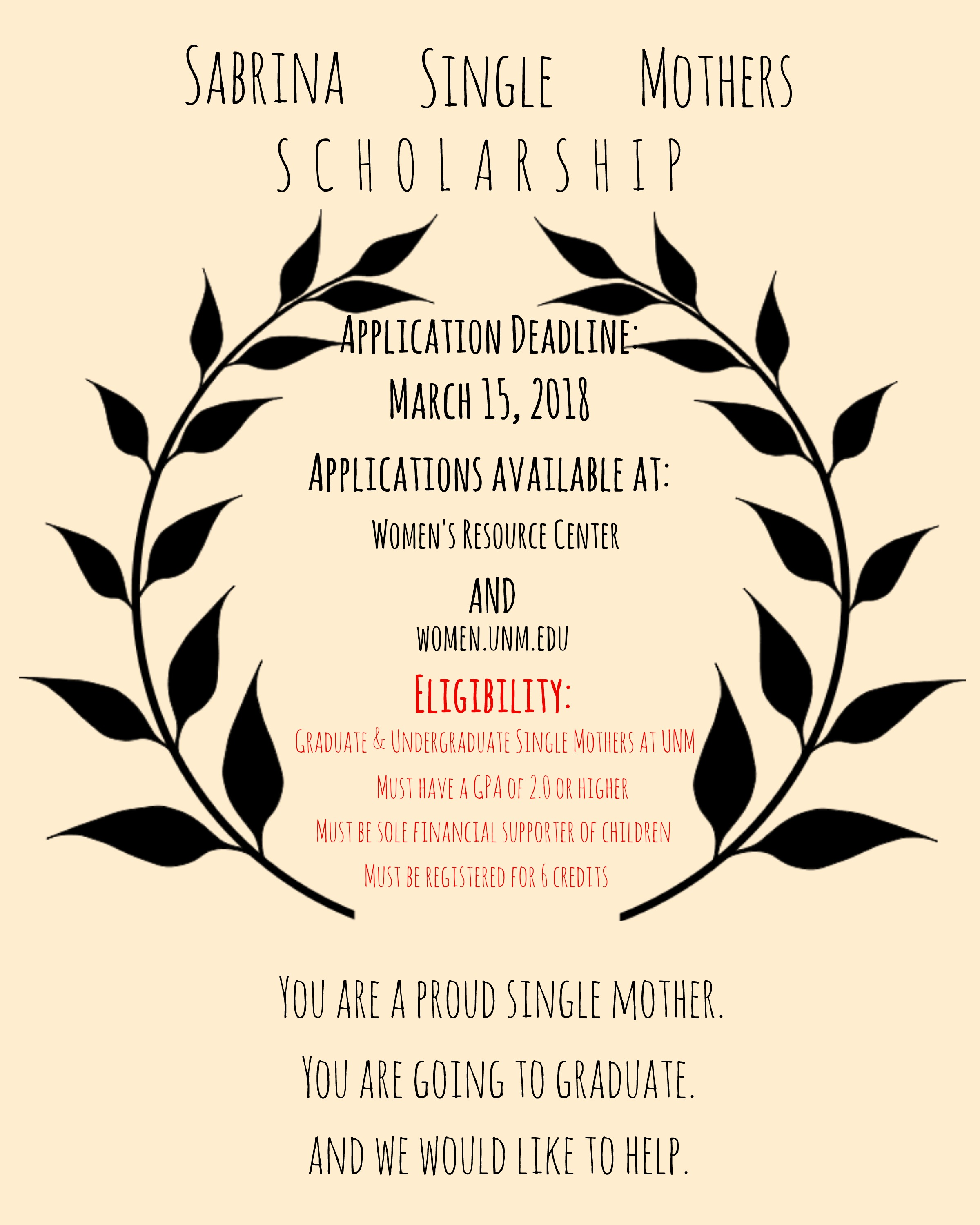 sabrina single mother's scholarship :: women's resource center | the